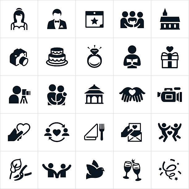 Wedding Icons A set of icons representing the marriage and wedding industry. The icons include several common symbols such as a bride, groom, ceremony, church, photography, cake, wedding ring, gift, couple, gazebo, videography, dining, invitations, flowers, champagne and other related illustrations. trillium stock illustrations