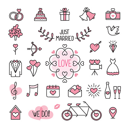 Wedding icons clipart