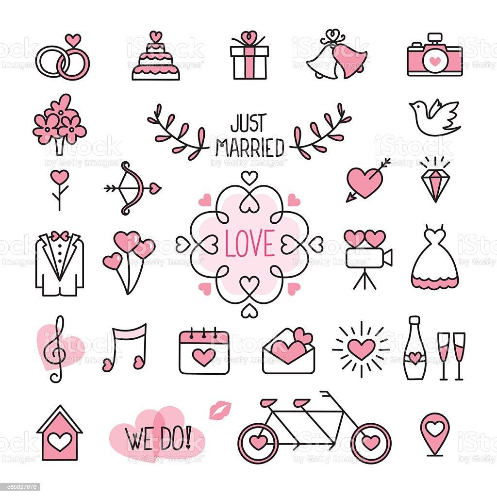 Ícones de casamento - ilustração de arte em vetor