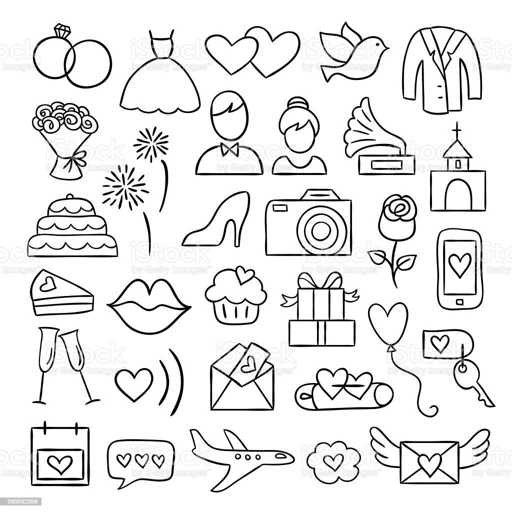Wedding Icons Vector Wedding And Party Illustrations Hand