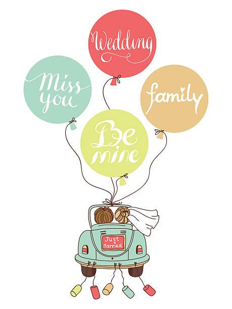 hochzeits-illustration mit auto, frischvermählte und ballons! - hochzeitspaare stock-grafiken, -clipart, -cartoons und -symbole