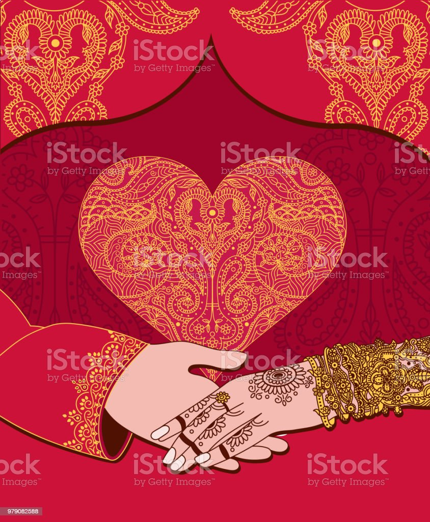 Wedding Indian Invitation Card With Golden Heart India Marriage ...