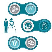 Wedding Infographic Borders With Icon Set. Retro colors with stitching around the outside. The circles have a frame and drop shadow to create a 3D look. Connection.