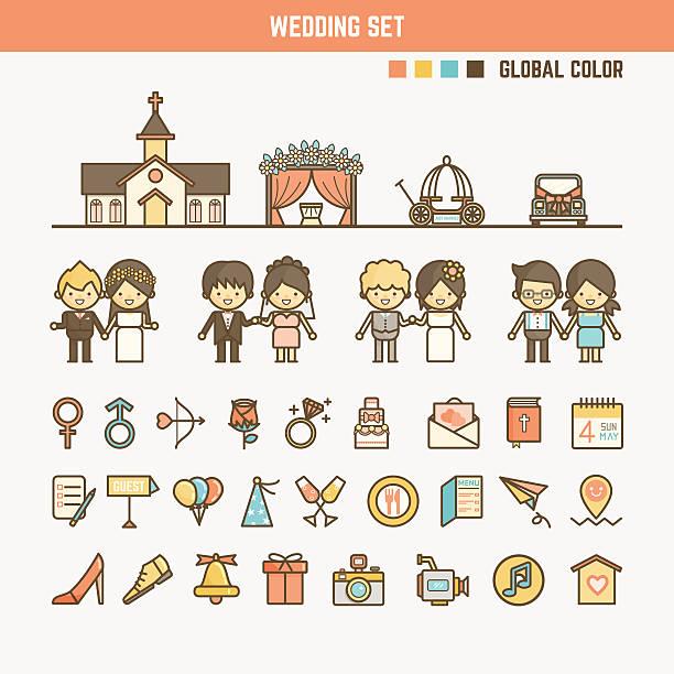 hochzeit infografik-elemente für kinder - kirchenring stock-grafiken, -clipart, -cartoons und -symbole