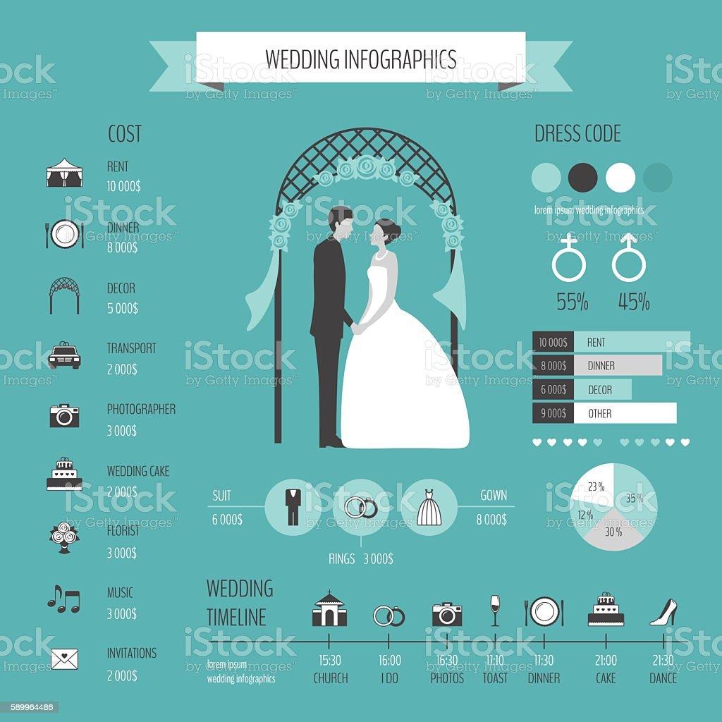 De casamento Infográficos - ilustração de arte em vetor