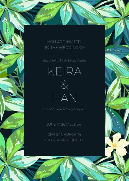 Mariage invitaion ou carte design avec des fleurs tropicales exotiques et - Illustration vectorielle
