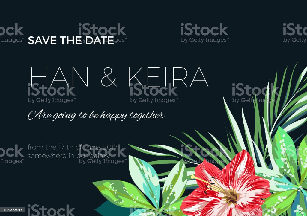 Wedding invitaion or card design with exotic tropical flowers and vector art illustration