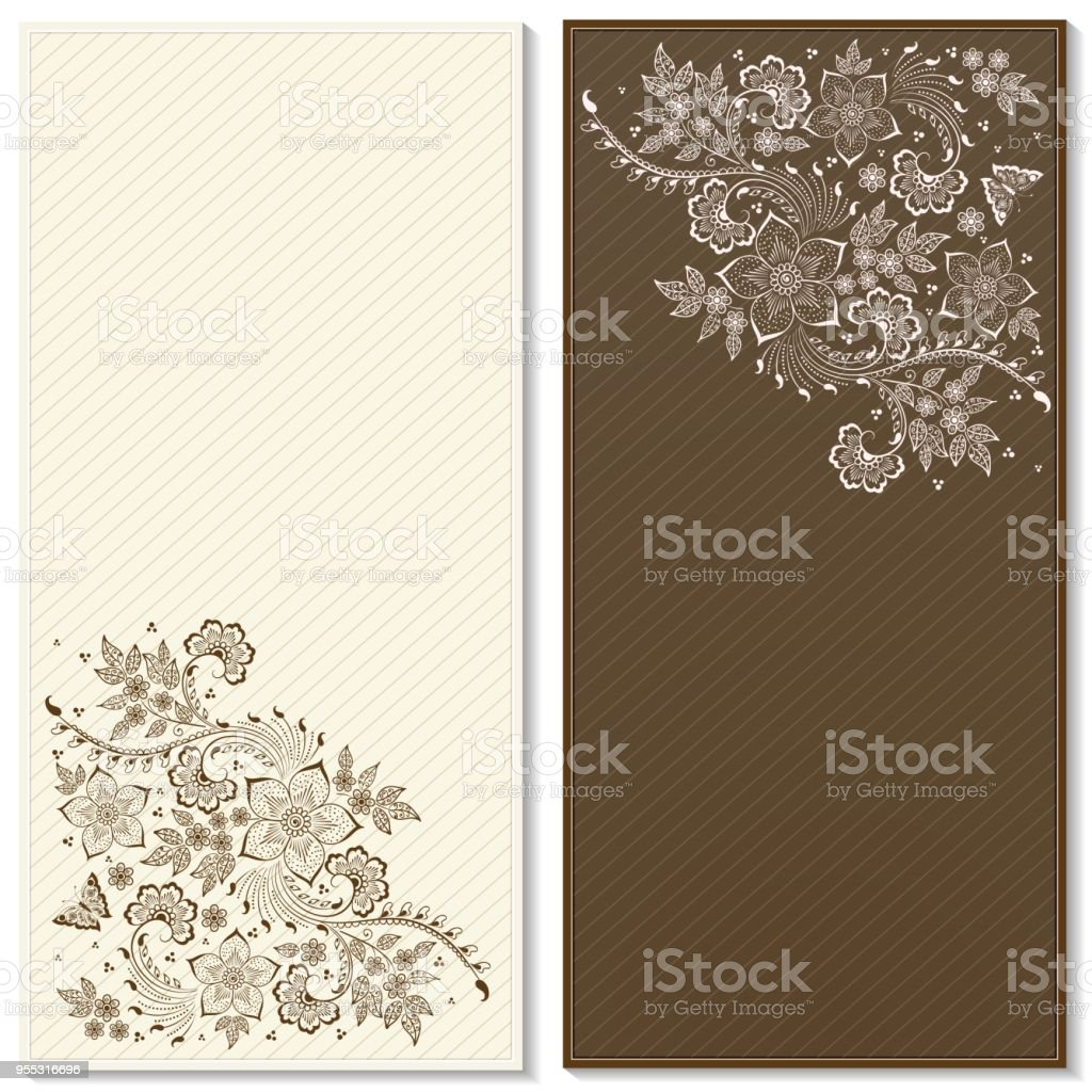 Wedding Invitation And Announcement Card With Floral Background ...