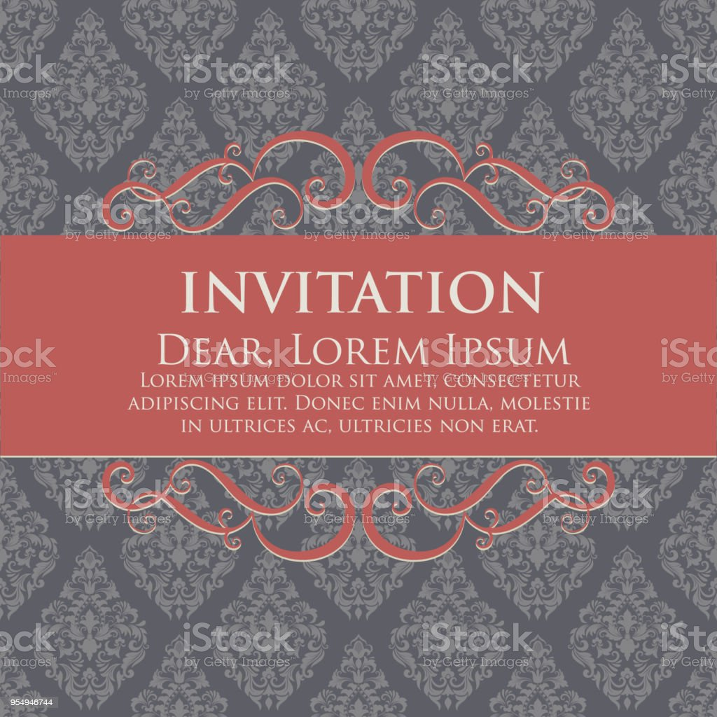 Wedding Invitation And Announcement Card With Vintage Background ...