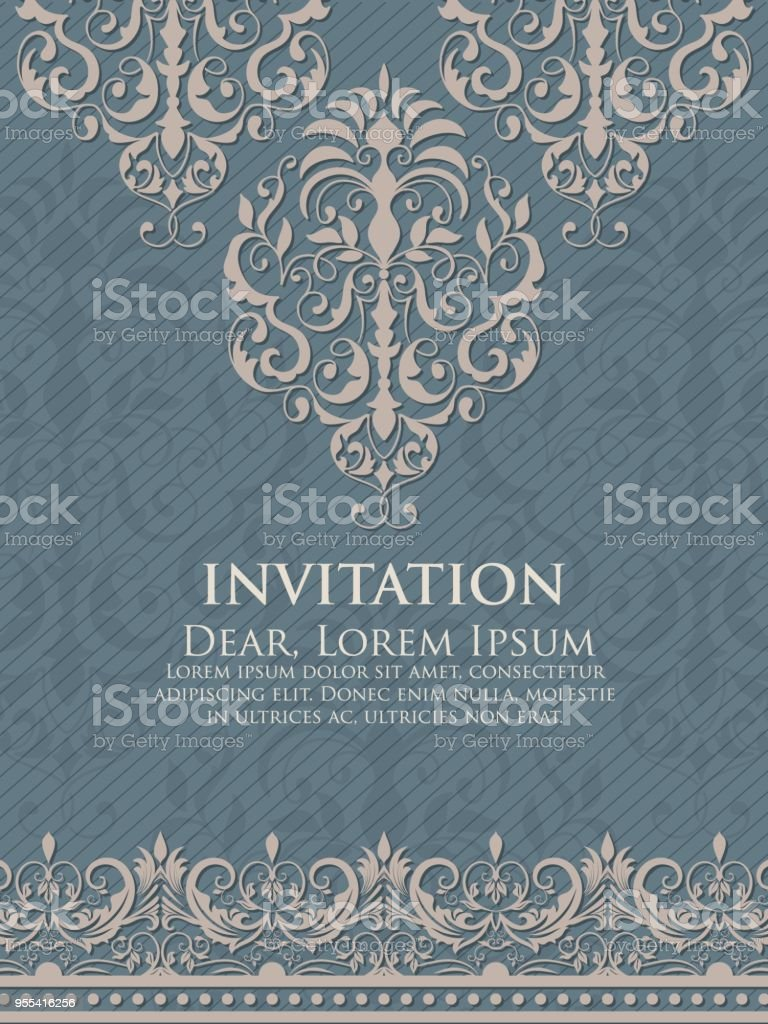 Wedding invitation and announcement card with vintage background artwork. Elegant ornate damask background. Elegant floral abstract ornament. Design template. - Grafika wektorowa royalty-free (Adamaszek)