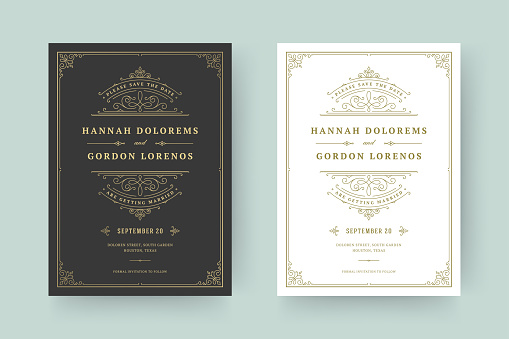 Wedding invitation and save the date cards flourishes ornaments vignette swirls