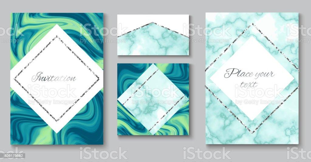 Hochzeit Einladung Formularsatz, Marmor Broschüre Layout, Farbe Visitenkarte  Vorlage Oder Im Trendigen Minimalistischen