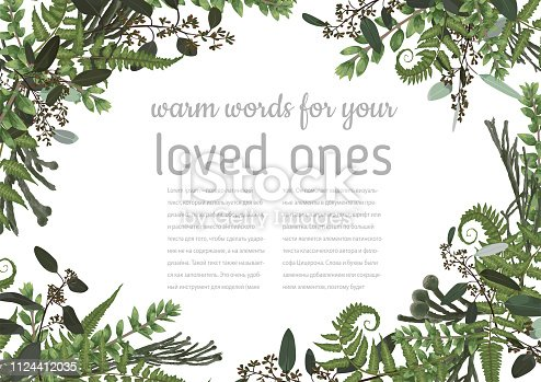 Wedding invitation, beautiful greeting card, vector watercolor banner. Angled frame with green eucalyptus leaves, brunia,  boxwood, rose and forest fern isolated on white background