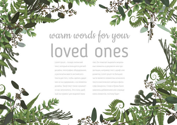 Wedding invitation, beautiful greeting card, vector watercolor banner. Angled frame with green eucalyptus leaves, brunia,  boxwood, rose and forest fern isolated Wedding invitation, beautiful greeting card, vector watercolor banner. Angled frame with green eucalyptus leaves, brunia,  boxwood, rose and forest fern isolated on white background uk border stock illustrations