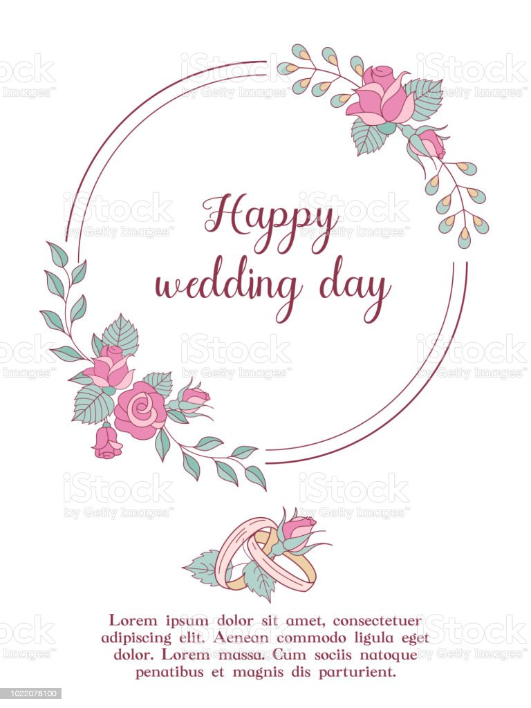 Wedding Invitation Beautiful Wedding Card With A Wreath Of Delicate