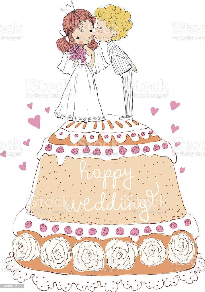 Convite de Casamento-noiva e noivo com o bolo - ilustração de arte em vetor