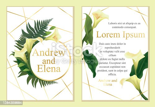 Template for wedding invitation, greeting card. Arrangement of calla lily flowers, various leaves, fern. White background, golden frame, lines. Clipping mask.