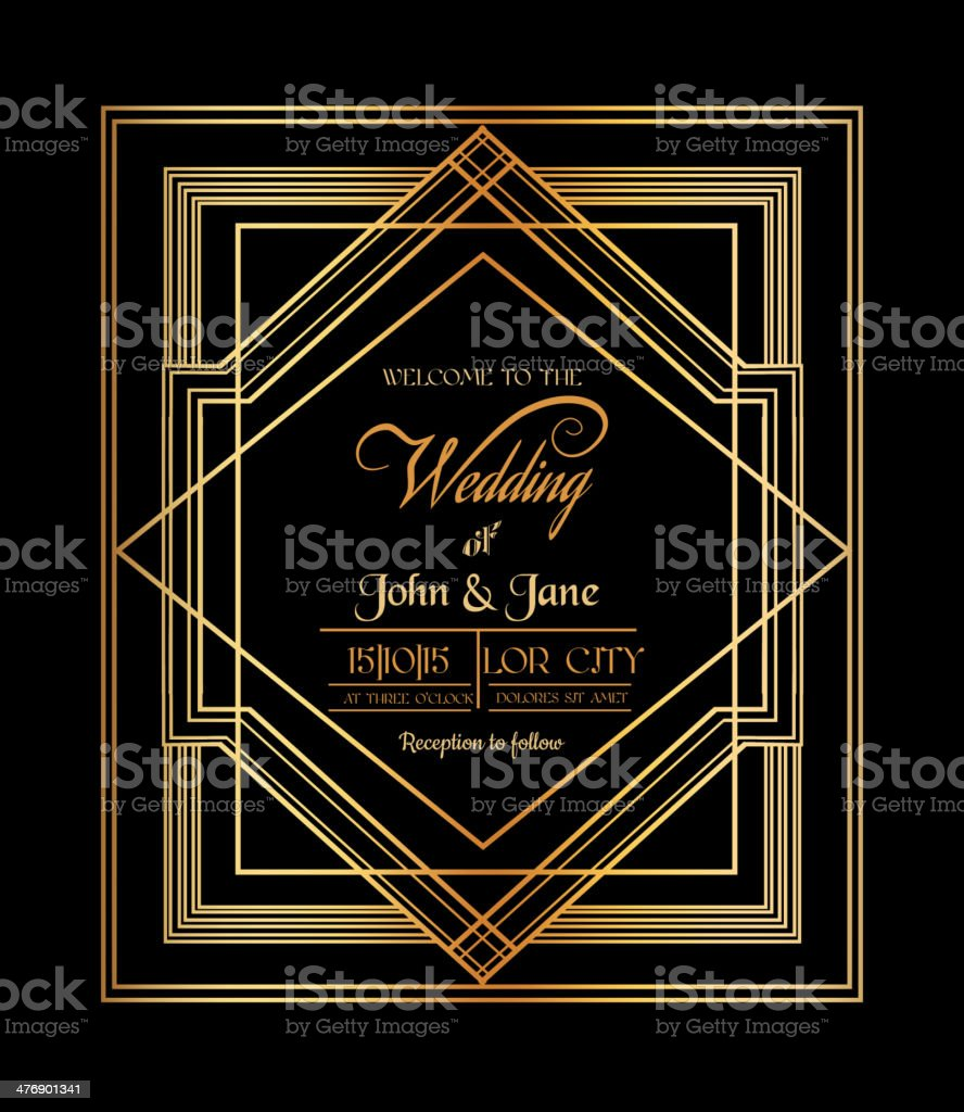 Wedding invitation card art deco gatsby style stock vector art wedding invitation card art deco gatsby style royalty free wedding invitation card art stopboris