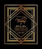 Wedding Invitation Card - Art Deco & Gatsby Style