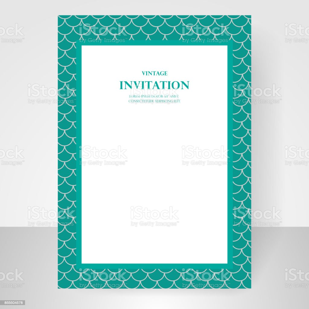 Wedding Invitation Card Blue Green Fish Scale Pattern Background ...
