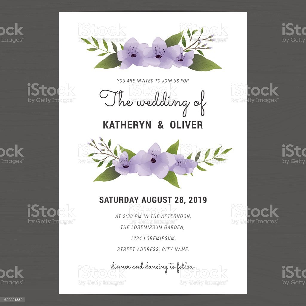 Wedding Invitation Card Decorate With Purple Flower Bouquet Template Royalty Free Stock Vector Art