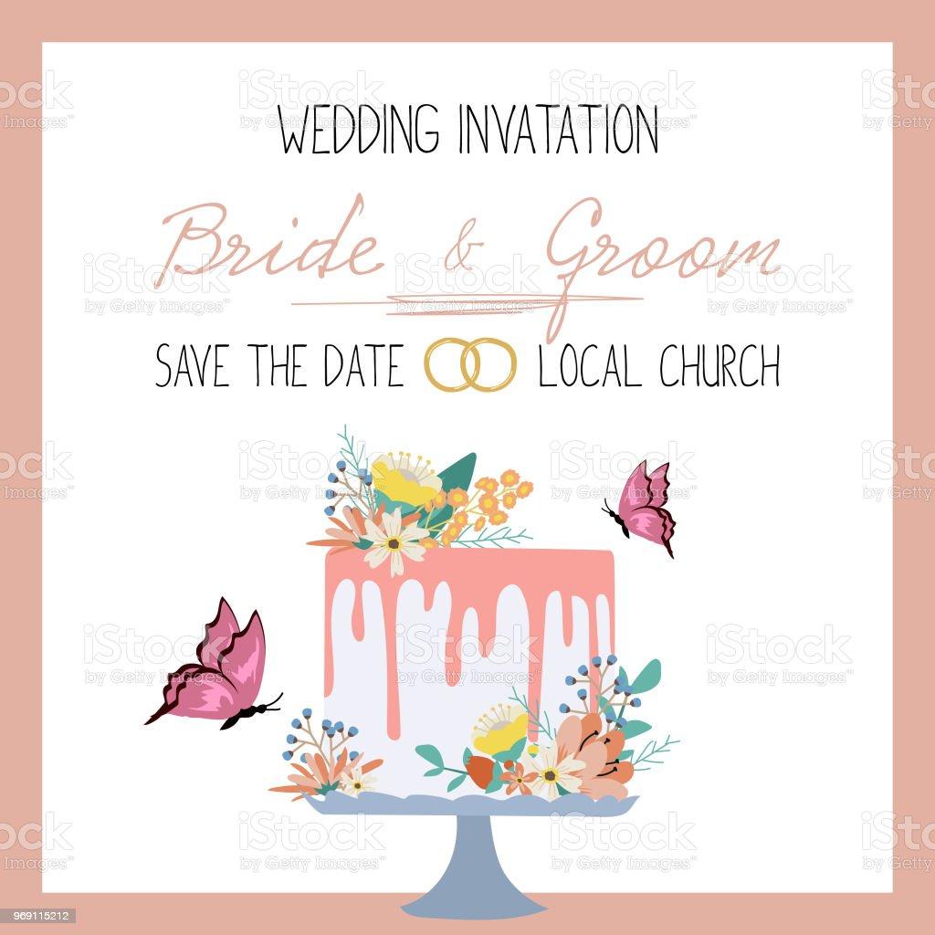 Wedding Invitation Card Design Vector Illustration Stock Vector Art ...