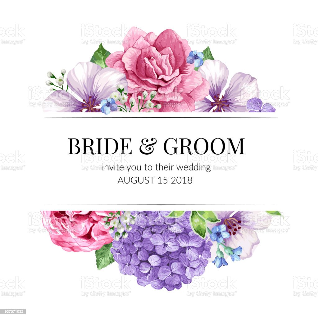 Wedding Invitation Card Design With Flowers In Watercolor Style On ...