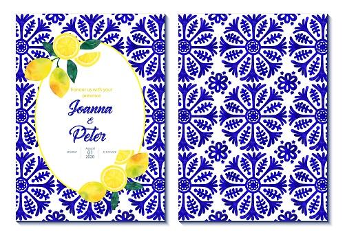 Wedding Invitation Card Design with Fresh Lemons and Navy Blue Mediterranean Tiles. Wedding Concept, Design Element.