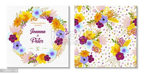 istock Wedding Invitation Card Design with Hand Drawn Spring Flowers with White Wood Background. Wedding Concept, Design Element. 1293341748