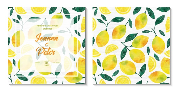 Wedding Invitation Card Design with Watercolor Lemons and Leaves. Wedding Concept, Design Element.