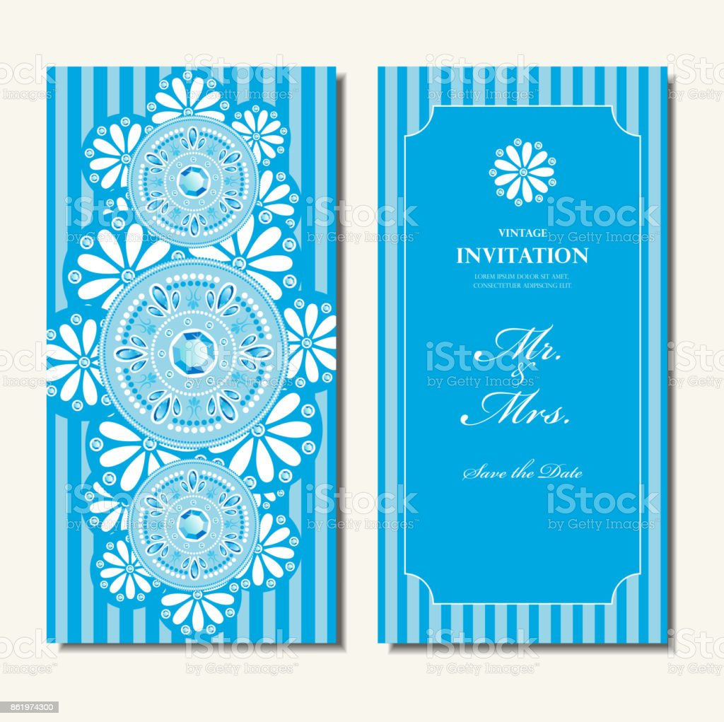 Wedding Invitation Card Elegant Blue Diamond And White Floral Round Pattern Background Indian Design Vector Stock Illustration Download Image Now