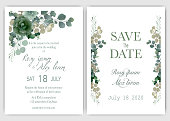 Wedding invitation card Floral hand drawn frame .Greenery Wedding Invitation ,Template Eucalyptus  Wedding Invitation.