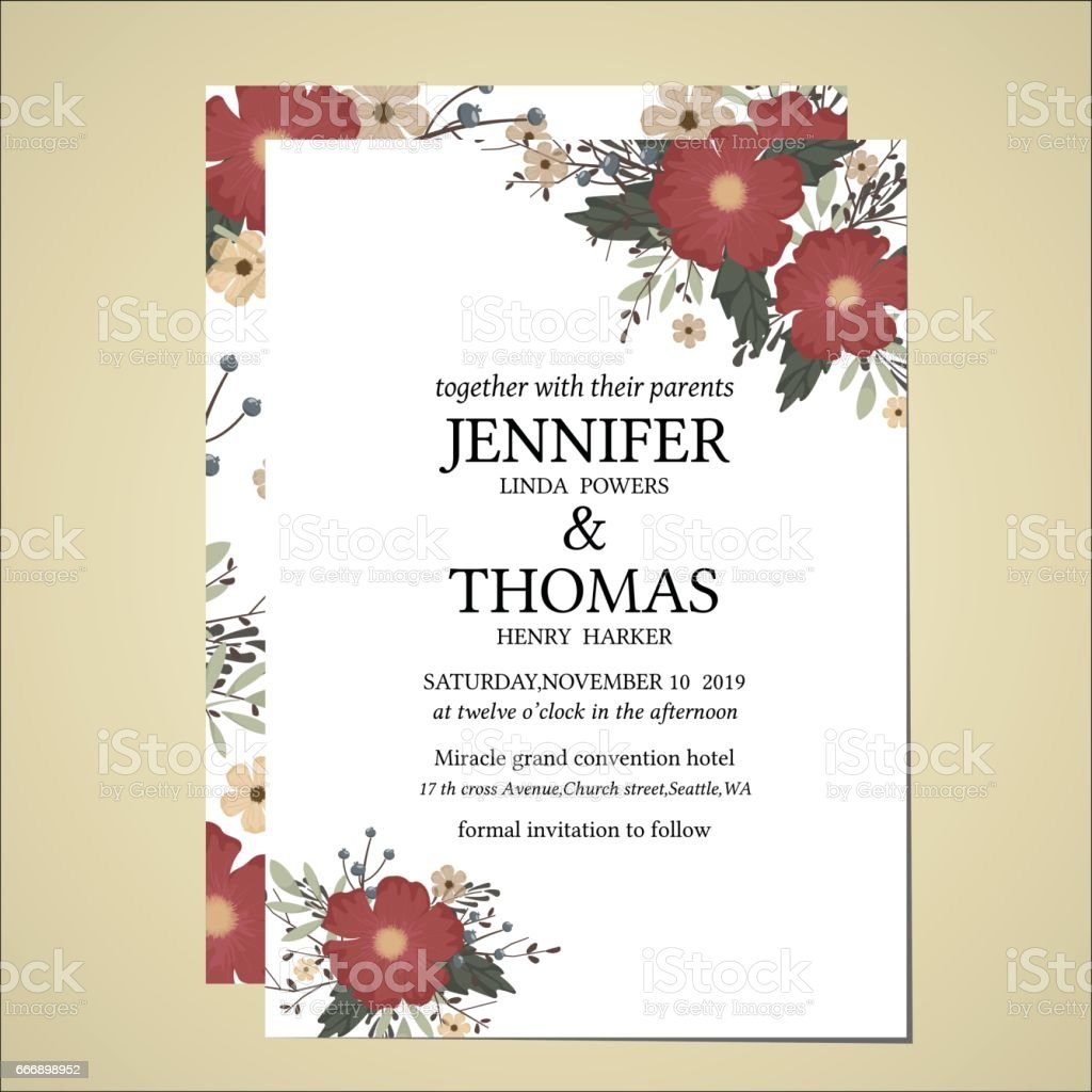 Wedding Invitation Card Floral Vintage Style stock vector art ...