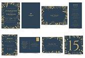 Wedding invitation card Formal style.Dark Blue and Gold Tone.