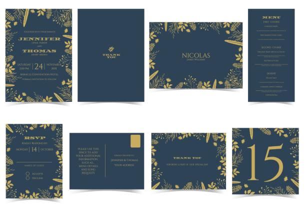 Wedding invitation card Formal style.Dark Blue and Gold Tone. vector art illustration