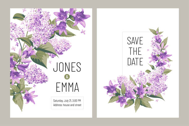 Wedding invitation card. Frame with text and flowers - purple Campanula and Lilac on white Background. Images for your design projects violet flower stock illustrations