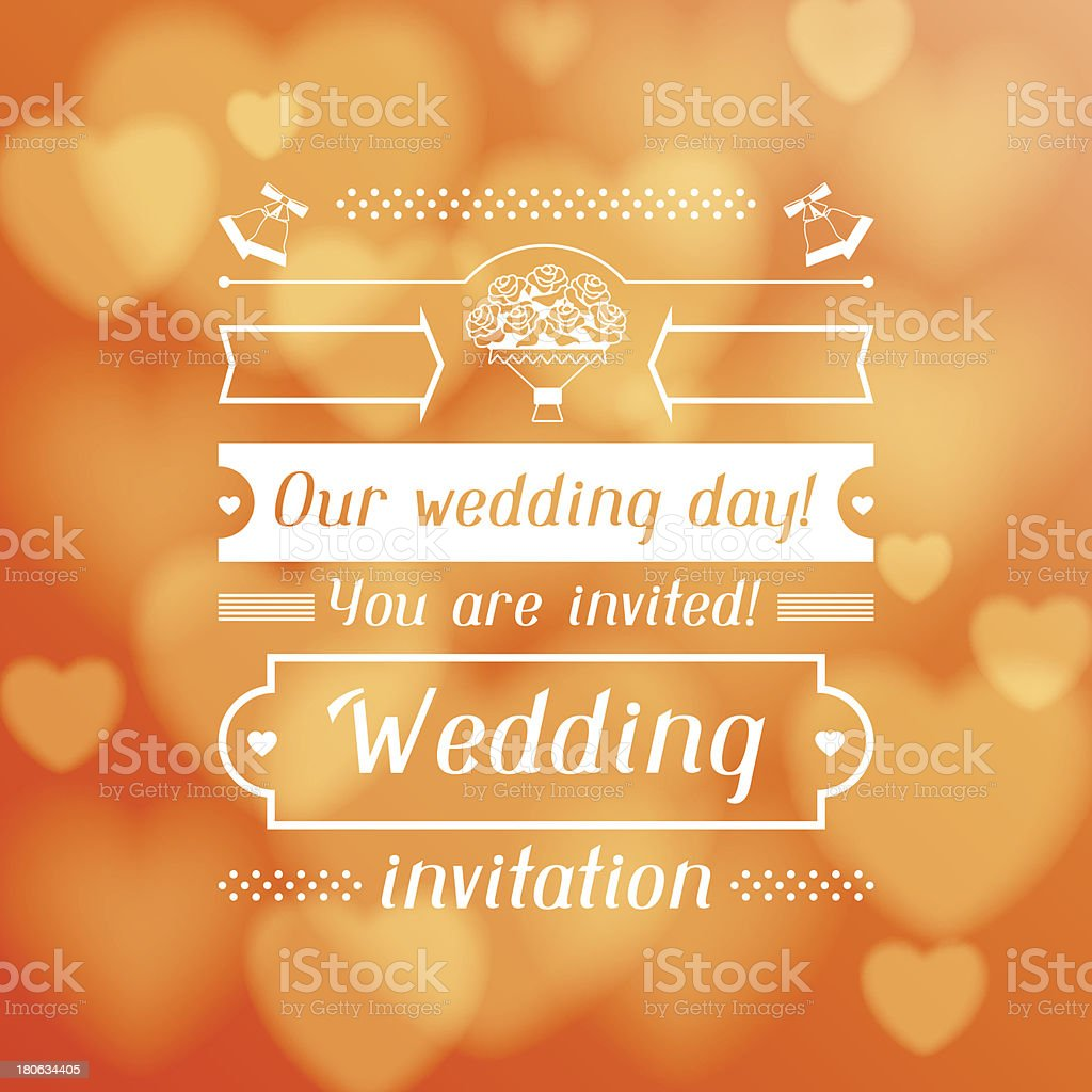 Wedding invitation card in retro style. royalty-free stock vector art