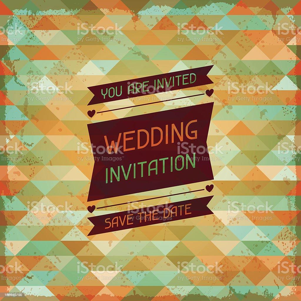 Wedding invitation card in retro style. royalty-free stock vector art