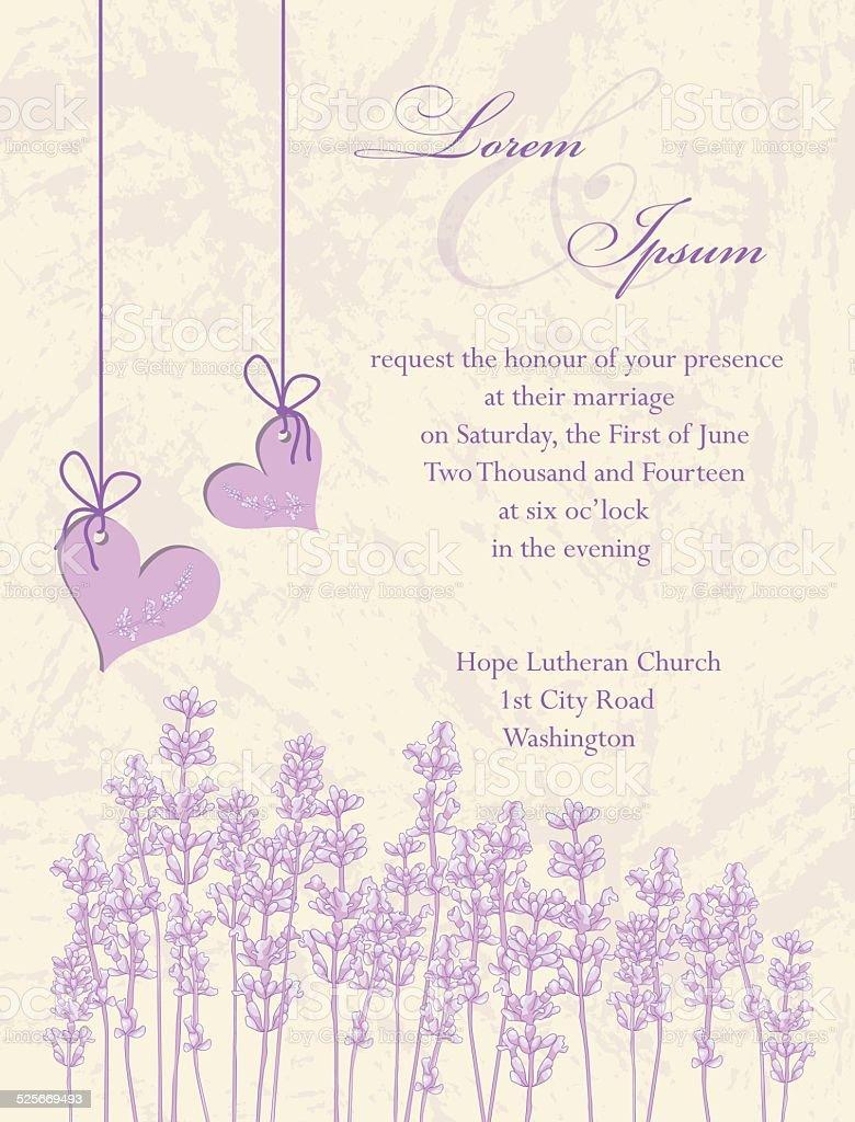Tarjeta de invitación de boda. Lavanda fondo. - ilustración de arte vectorial