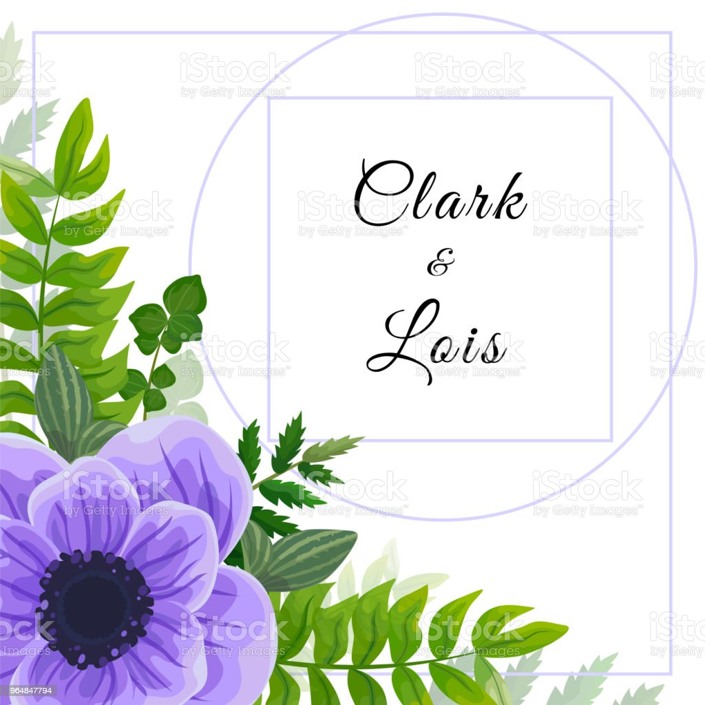 Wedding invitation card. Lovely template. Card design with violet anemone flower, forest greenery ferns, plants, green leaves. royalty-free wedding invitation card lovely template card design with violet anemone flower forest greenery ferns plants green leaves stock vector art & more images of anniversary