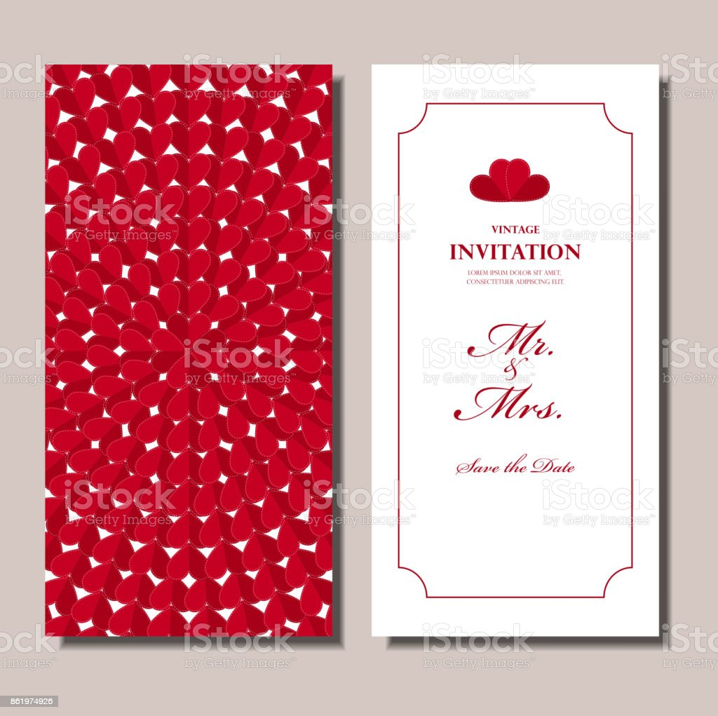 Wedding Invitation Card Red Origami Heart Red Flower Circle Pattern