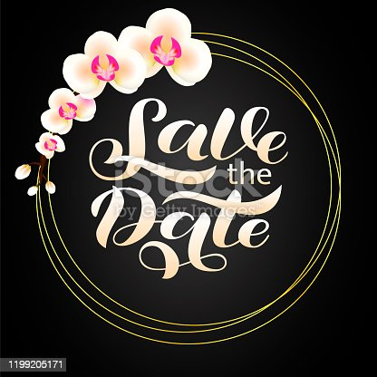 istock Wedding invitation card. Save the date lettering. Vector illustration 1199205171