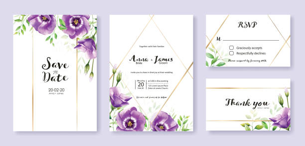 Wedding Invitation card, save the date, thank you, rsvp template. Purple lisianthus flower. Watercolor style. Wedding Invitation card, save the date, thank you, rsvp template. Vector. purple lisianthus flower. Watercolor style. violet flower stock illustrations