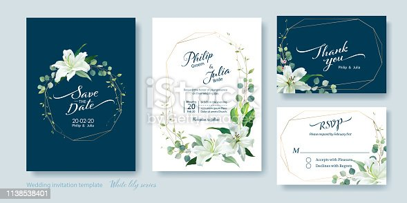 Wedding Invitation card, save the date, thank you, rsvp template. Vector. White lily flower, silver dollar plant, olive leaves, Wax flower.