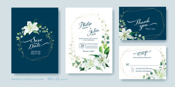 wedding invitation card, save the date, thank you, rsvp template. white lily flower, silver dollar plant, olive leaves, wax flower. - thank you background stock illustrations