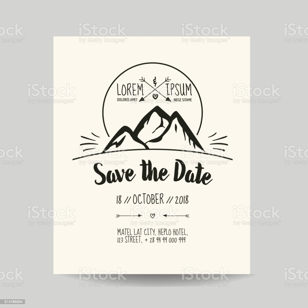 Wedding invitation card save the date with mountain stock vector art wedding invitation card save the date with mountain royalty free wedding invitation card stopboris Images