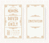 Wedding invitation card set art deco style gold color on white background with frame