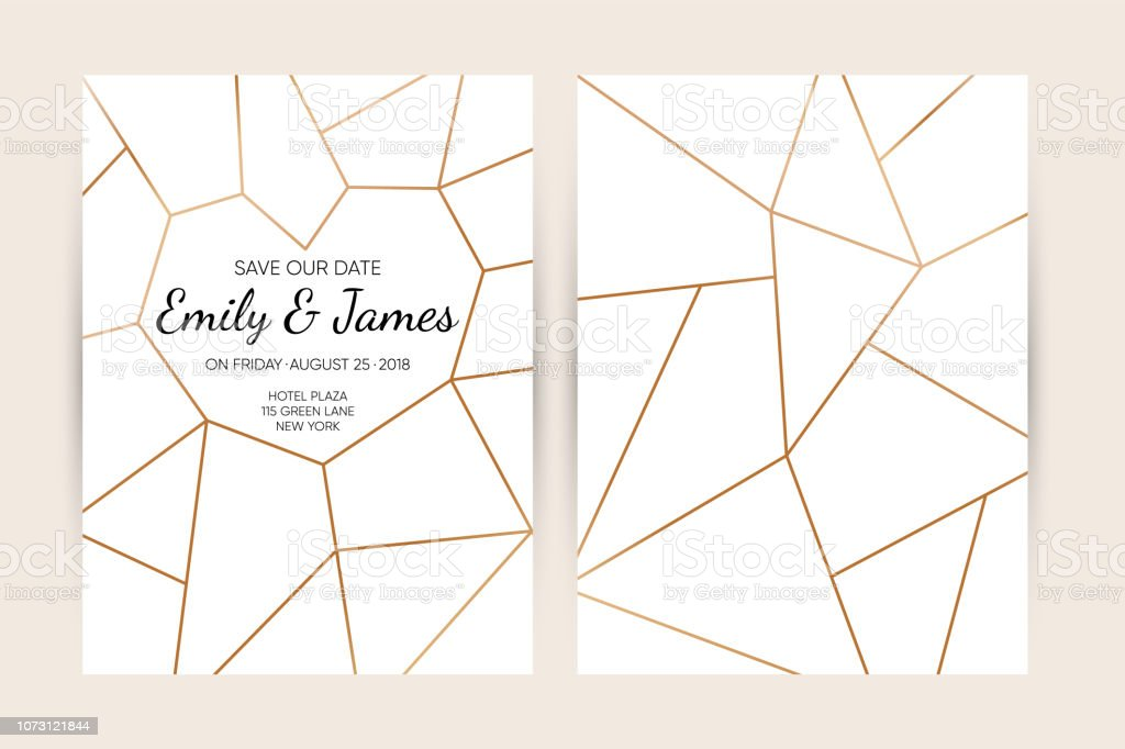 Wedding Invitation Card Set Modern Design Template With Gold Abstract Geometric Pattern Elegance Wedding Invitation Vector Illustration Stock