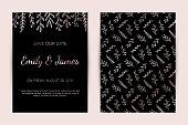 Wedding invitation card set. Modern design template with rose gold floral elements. Elegance wedding invitation. Vector illustration.