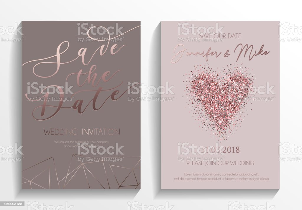 Wedding Invitation Card Set Modern Design Template With Rose
